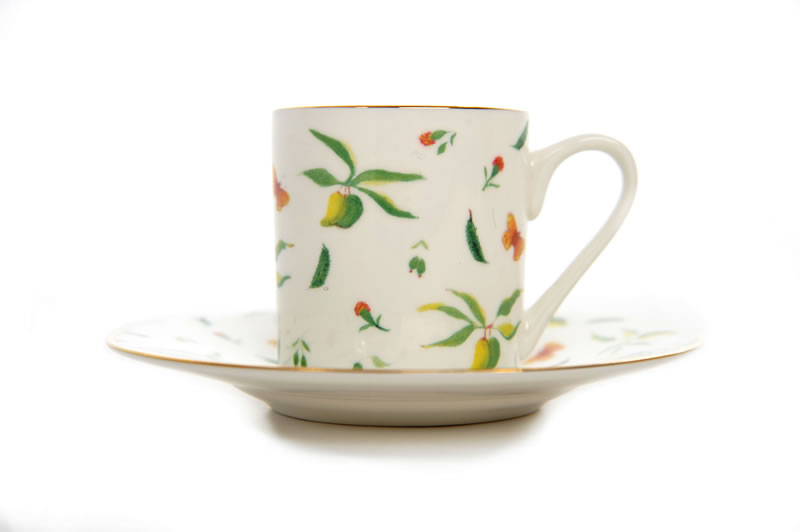 Caribbean Garden bone china espresso cup and saucer, set of 4