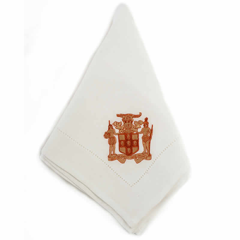 Great House embroidered white hem-stitched linen napkin