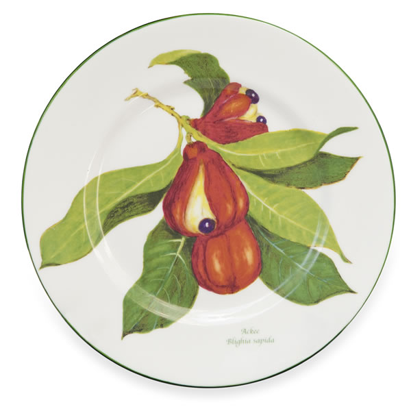 Fine Bone China Jamaican Ackee Fruit / Salad Plate