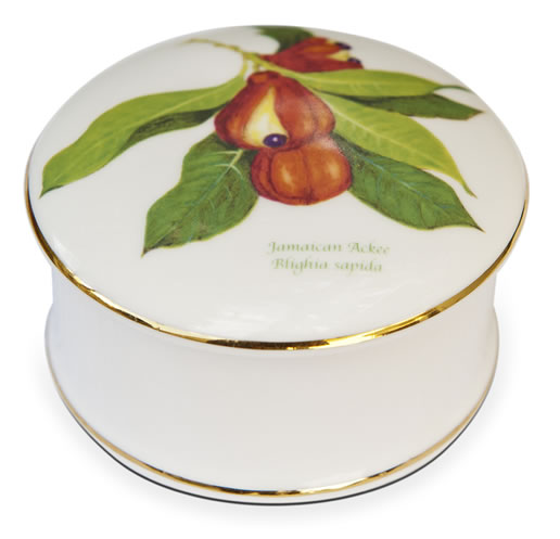 Fine Bone China Jamaican Ackee Trinket/Pill Box